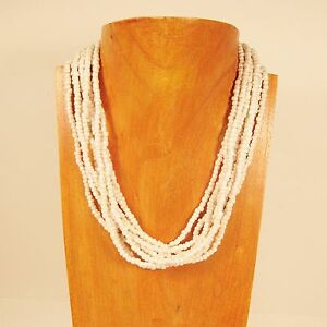18-034-Multi-Strand-Shiny-Pearl-White-Color-Handmade-Seed-Bead-Statement-Necklace