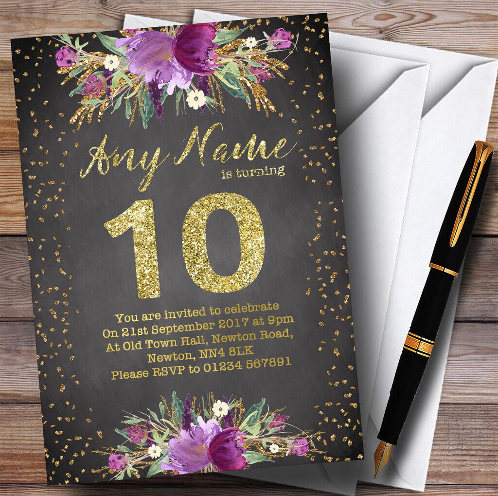 Chalk Watercolour lila Gold 10th Personalised Birthday Party Invitations