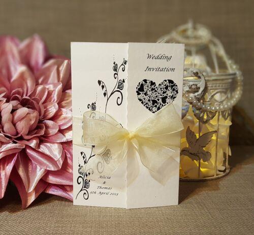 Personalised Gatefold Wedding Invitations Or Evening Invites with Envelopes