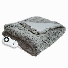 Latte Electric Heated Warmth Blanket Faux Fur Thermal Throw Washable Natural
