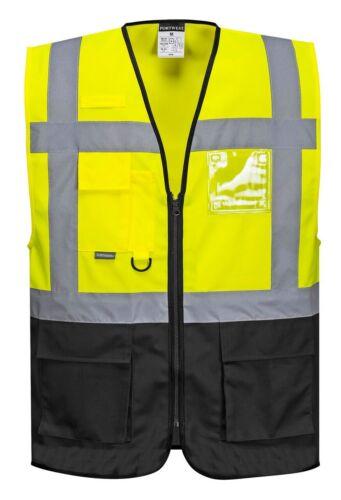 10PK Portwest Varsovie Exécutif Gilet ruban réfléchissant noir//jaune Taille M-5X UC476