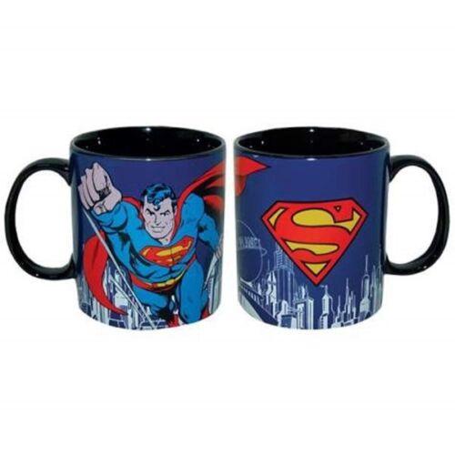 DC Comics Superman Flying Figure and Logo Blue 14 oz Ceramic Coffee Mug UNUSED