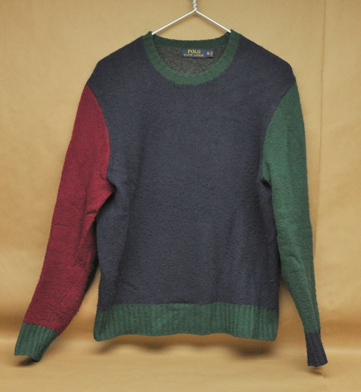 Vintage Polo Ralph Lauren 100% Wool Sweater Medium Maroon Red bluee Green