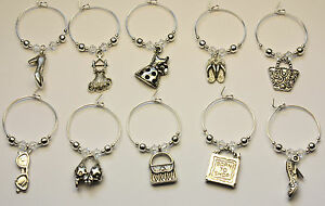 10 Wine Glass Charm Rings GIRLIE made with SWAROVSKI Crystal Hen Party Wedding