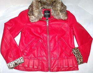 8062255ff36a Red Faux Leather Moto Jacket Faux Fur Collar Leopard Print Lining ...