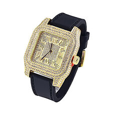 Roman Numeral Dial Watch Iced Out Hip Hop Rapper Simulated Diamond Jojo Jojino