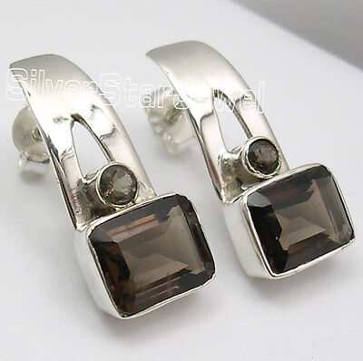 "Earrings Hearty 2 Stone Ladies' Deco Jewelry Fashion Jewelry 925 Silver Brown Smoky Quartz Studs Earrings 0.8"" Promoting Health And Curing Diseases"