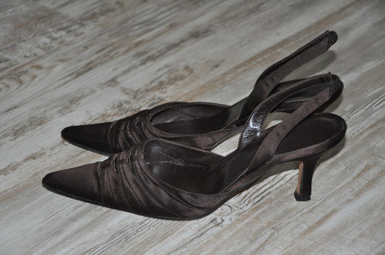 L.K. BENNETT SATIN & LEATHER Slingback heels Sandals shoes s 5.5 38 1 2