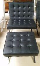 Mid Century Modern Mies Van Der Rohe Barcelona Chair & Ottoman Black Replica