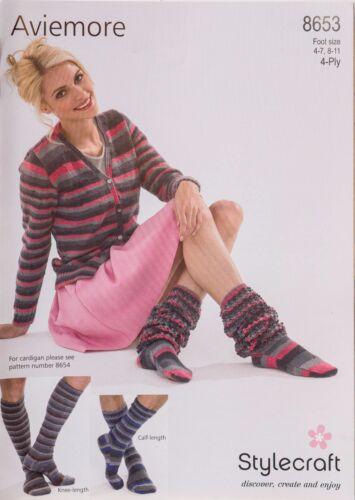 Stylecraft Knitting Pattern 8653 Socks Mens Ladies Slouch Calf Knee High 4-11