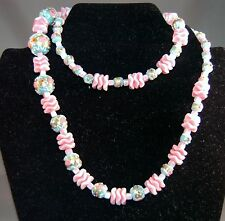 SUPERB Vintage Venetian Wedding Cake Bead Pink Celluloid Spacer Long Necklace!