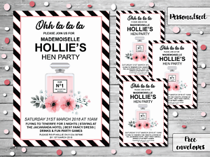 10 Personalised Hen Party Invites Invitations Wedding Chanel Ebay