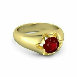 Natural Ruby Gemstone With 925 Sterling Silver Ring For Men's #AB226