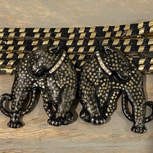 Vintage Black /Gold Jaguar Cat Double Belt Buckle