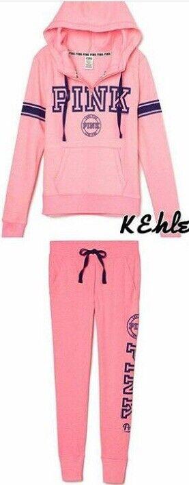 Victoria Secret PINK Fashion Show Outfit Set Half Zip Hoodie(XS) Jogger Pants(S)