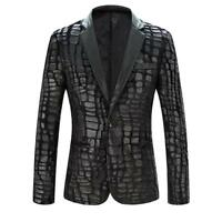 Mens Classic Business Blazer Suit PU Leather Lapel Jacket Coat Casual Outwears