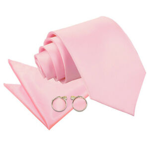 DQT-Satin-Plain-Solide-Bebe-Rose-Classique-Slim-skinny-tie-hanky-cufflinks