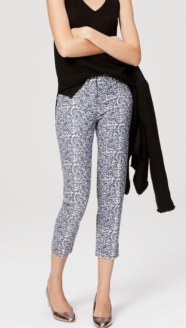 Ann Taylor LOFT Floral Vine Riviera Cropped Pants in Marisa Fit Various Sizes