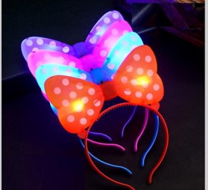 5 Pcs Light Up Pink Red Minnie Mickey Mouse Bows Polka Dots