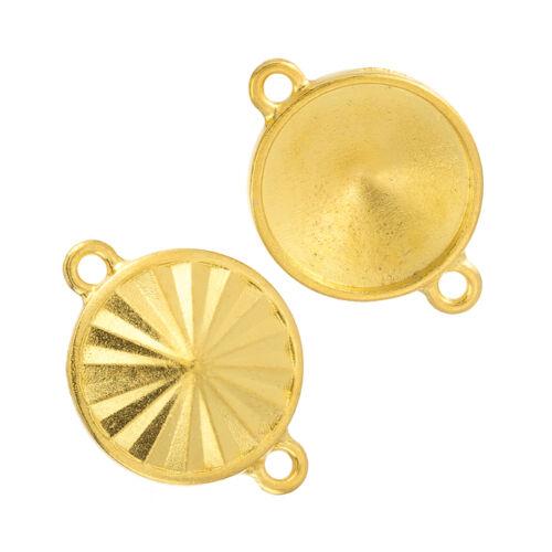 Gold Plated 18mm Pendant H106//14 Rivoli Holder Frame Setting Links