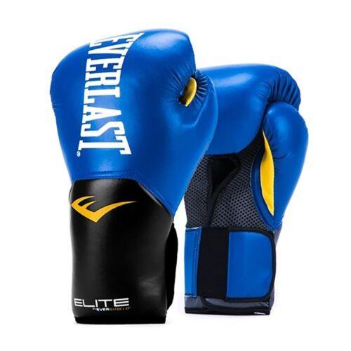 Everlast Elite Pro Style Leather Training Boxing Gloves Size 8 Ounces Blue