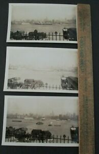 Lot-of-3-1936-SS-NORMANDIE-PHOTOGRAPHS-Docking-in-New-York-Harbor