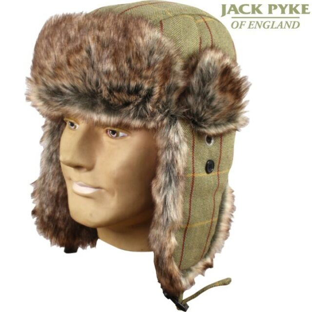 JACK PYKE MENS TWEED WOOL BLEND TRAPPER HAT CHECK ACRYLIC FUR HUNTING  SHOOTING 7cd3f850b820