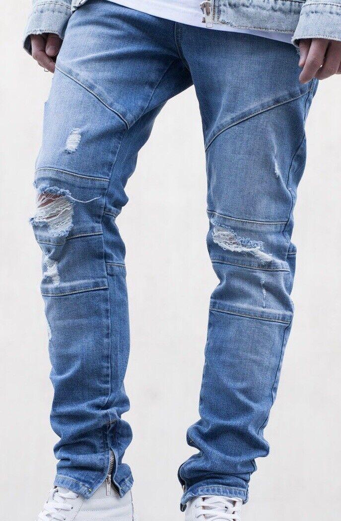 Coutié Paneled Denim Mid Blau Jeanshose - Größe 34 - Neu
