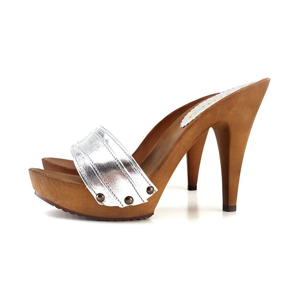 Silberne Holzschuhe - Made in  -Gr. - 35/42 - -Gr. Ferse 11-K21301 Silbern 8c5932