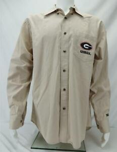 Georgia Bulldogs Long Sleeve Button Down Shirt Beige Men's L