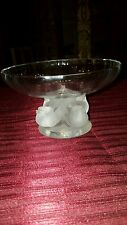 LALIQUE Crystal Pedestal Bowl or Candy Dish with 4 Frosted Birds
