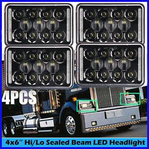 drl headlights 4pcs h4656 beam western hi truck lo led x6
