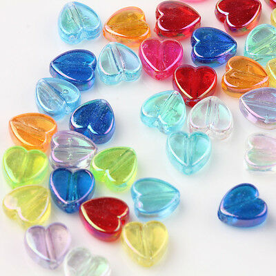 50/100Pcs Mixed Acrylic Heart Shape Loose Spacer Bead Necklace Finding DIY 9x4mm