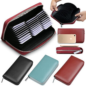 Women-039-s-RFID-Blocking-Genuine-Leather-Wallet-Credit-ID-Card-Holder-Zipper-Pocket