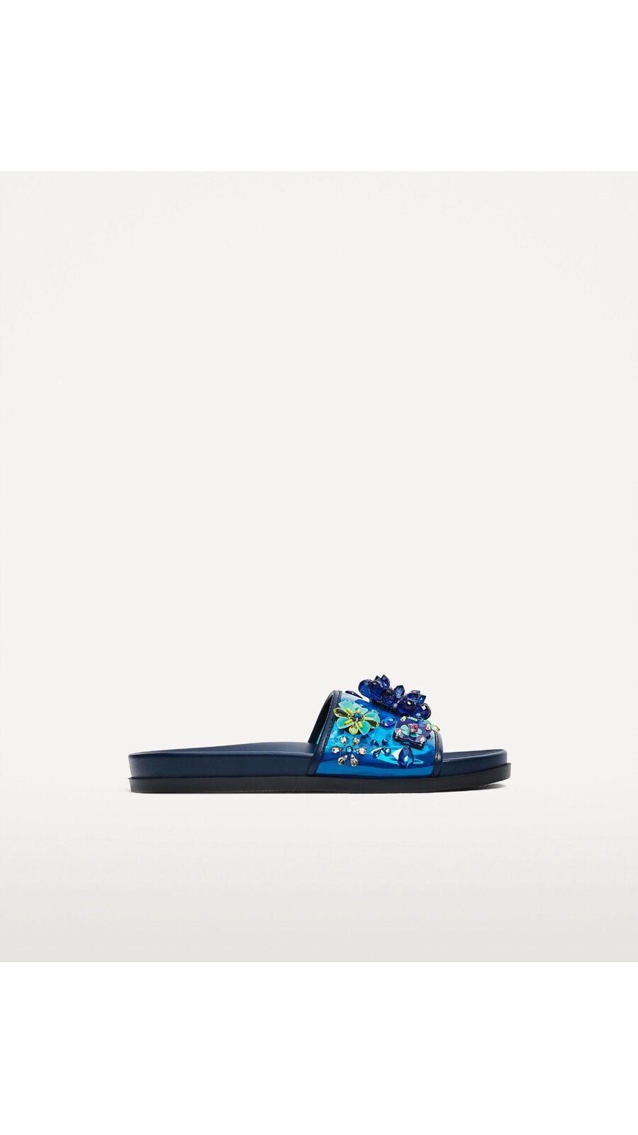 Zara mujer Floral Azul Azul Azul las diapositivas 3656 201 US 71 2  El ultimo 2018