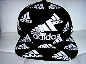 Embroidered-Adidas-Snapback-Adjustable-Flat-Cap-Black-White-One-Size-Fits-Most