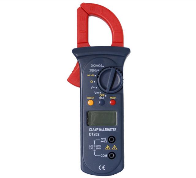 DT202 LCD Digital Multimeter Auto Handheld Clamp Meter Volt AC DC600 AMPS