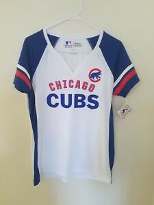 detailed look 7c59b ea266 Details about NEW Majestic MLB Team Apparel Chicago Cubs TX3 COOL V-Neck  Womens NWT