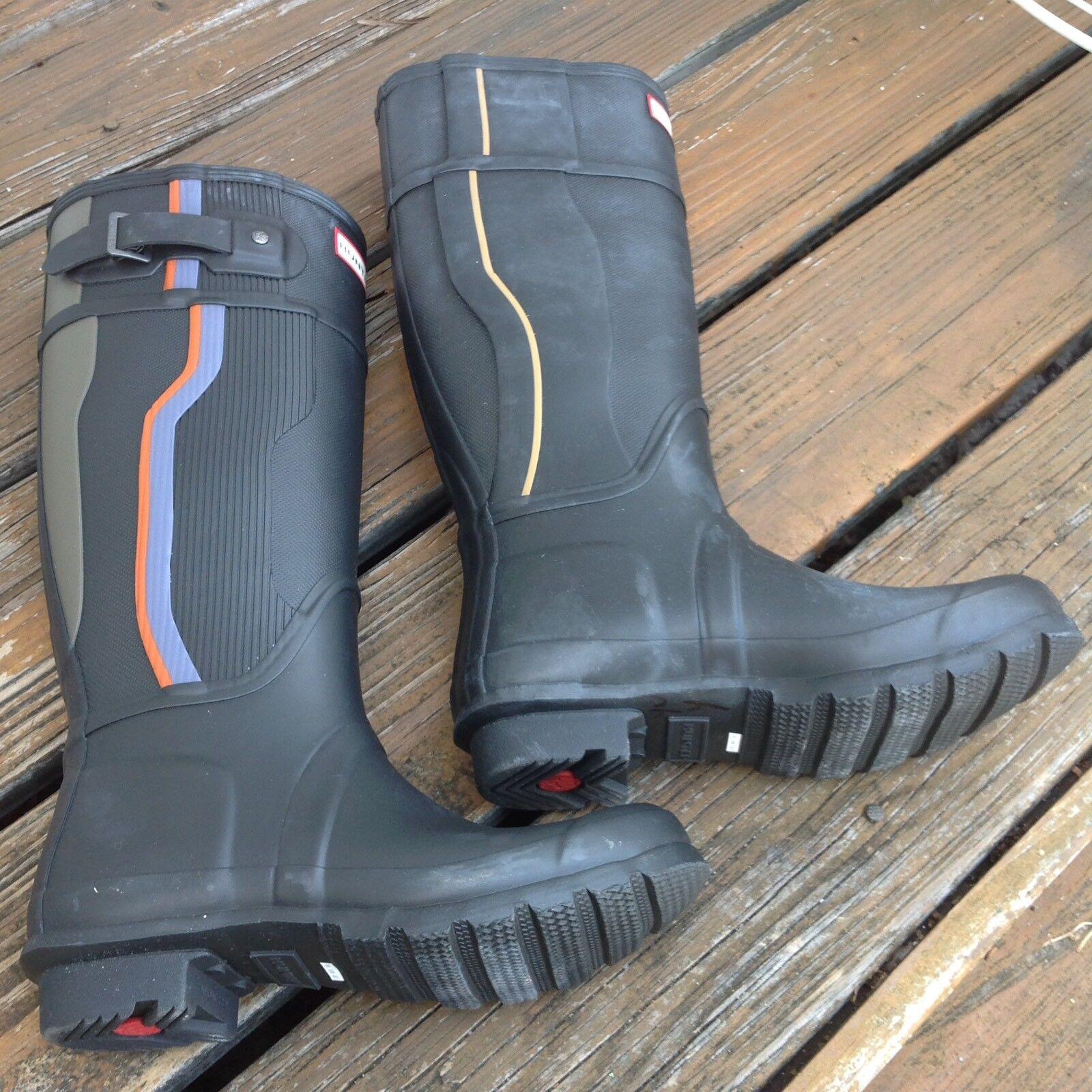 migliore vendita Hunter nero Stripe Wellies Tall Rain avvio Galoshes US W7 W7 W7 M6 UK5 EU38 scarpe RARE  fornire un prodotto di qualità