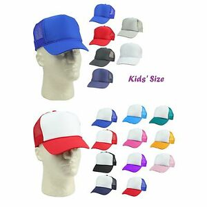 2e44aa498e277 Youth Trucker Hat Ball Cap Mesh Kids Blank Plain S XS Red Blue Gray ...