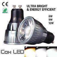 CoxLED Ultra Bright Dimmable 6W 9W 12W MR16 GU10 COB LED Spotlight Light Bulb
