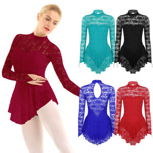 Womens-Long-Sleeve-Lace-Skate-Dance-Dress-Latin-Ballet-Leotard-Dancewear-Costume