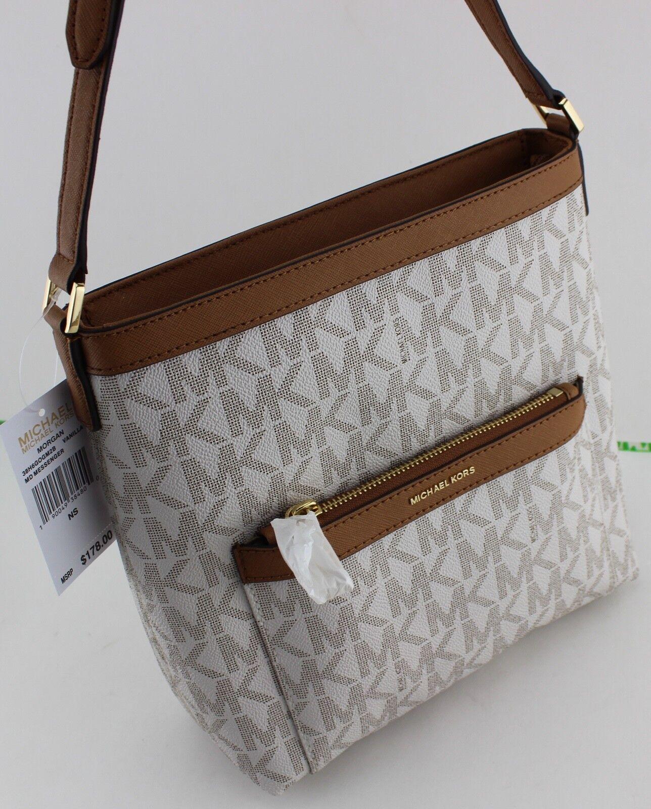 d28b4127bcfa89 Michael Kors Morgan Vanilla Signature Crossbody Messenger Bag ...