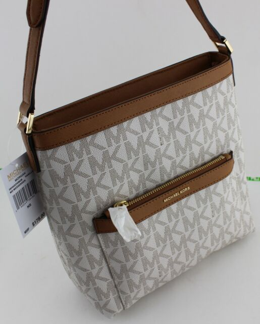 83fb2ceff7c5 NEW AUTHENTIC MICHAEL KORS MORGAN VANILLA SIGNATURE MD MESSENGER HANDBAG