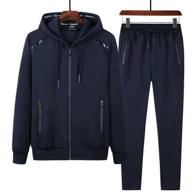 Men Tracksuit Jogging Top Pants Sport Suit Sets Hoodie Coat Trousers Outerwear