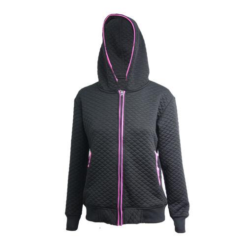 Womens Ladies Jacket Coat Quilted Zip Top Zipper Sweatshirt Hooded Hoodies 8-14