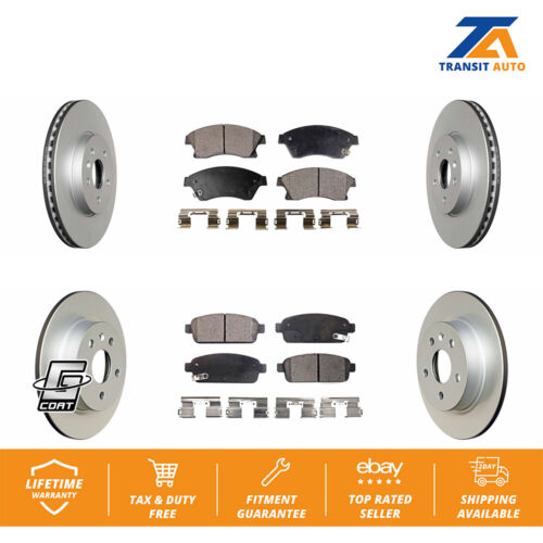 Front Rear Coated Disc Rotors /& Ceramic Brake Pads Fits Chevrolet Sonic Buick