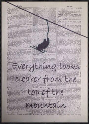 ESQUI SNOWBOARD citar Vintage Dicionário Parede Arte Foto impressão de montanha