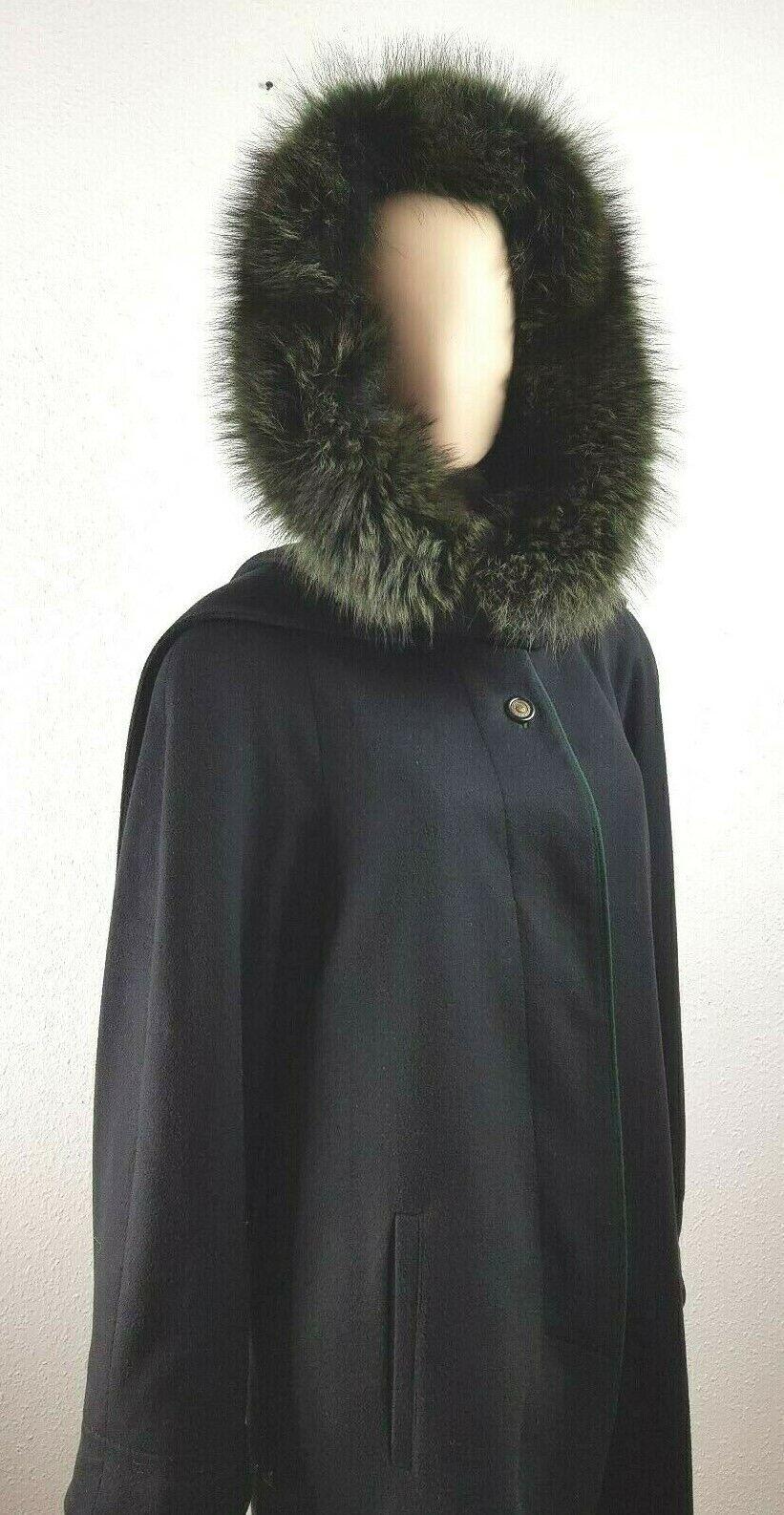 Lothar Repp Damen Mantel Wolle Cashmere Coat Lodenmantel grüner Pelzkragen 38 M