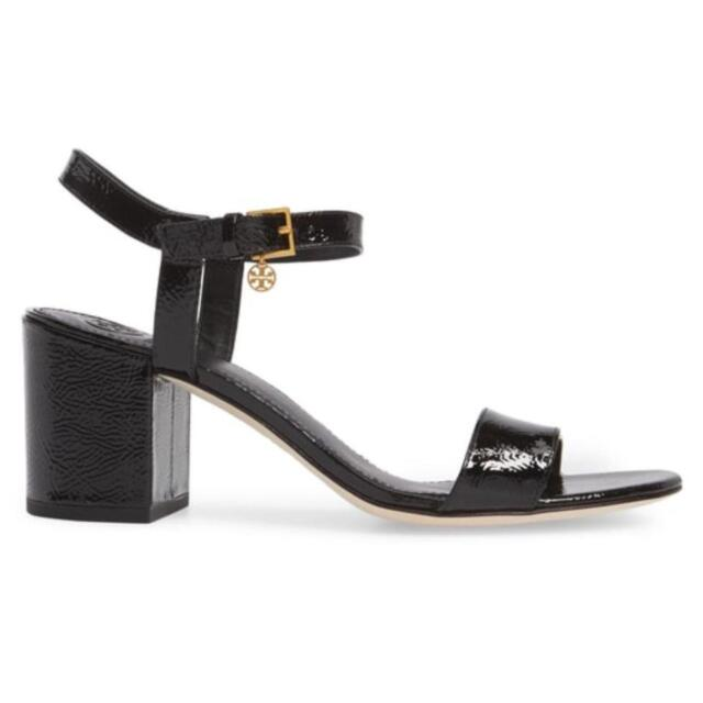 9c3cfca0f477 TORY BURCH LAUREL 65 BLACK NAPLAK LEATHER REVA CHARM ANKLE STRAP SANDALS  10.5